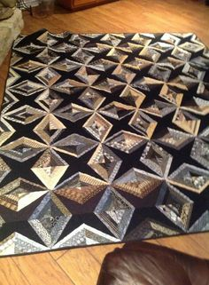I love these diamond string quilts. Use the black/background fabric as the foundation