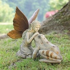 Fairy and Frog Garden Statue Enchanted Lawn Figurine