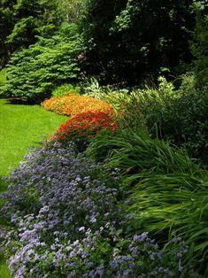 Pitkä istutusalue nurmikon reunassa