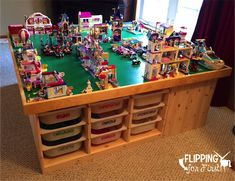 Flipping for First: DIY LEGO Table! This is the best project idea to keep all those LEGO's in one place!Flipping for First: DIY LEGO Table! This is the best project idea to keep all those LEGO's in one place! Table Lego Ikea, Lego Play Table, Lego Table With Storage, Kids Play Table, Legos, Lego Building Plate, Ikea Storage, Storage Units, Bedroom Decor