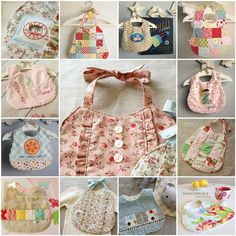 Handmade baby bibs. Lots of inspiration and tips on fabric to use in this post