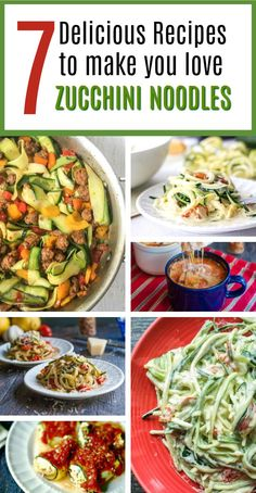 7 Delicious Zucchini Noodle Recipes - great healthy substitution for noodles - most low carb! | MyLifeCookbook.com #lowcarb #zoodles #zuchini #noodles #spiralizer #vegetables #healthyrecipe