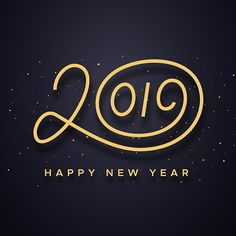 Happy New Year 2019 wishes typography text and gold confetti on luxury black background. Premium vector illustration with lettering for winter holidays.Typography design design for sale