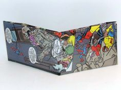 Comic Book Wallet// Spider-Man and X-Statix// Dead Girl, Groot, Anarchist, Venus Dee Milo, and Orphan vs Wall, $4.00