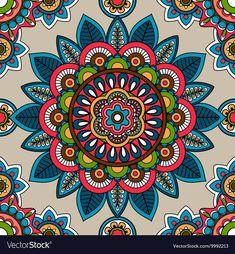 Indian mandala seamless pattern vector image on VectorStock Mandala Wallpaper, Mandala Artwork, Mandala Painting, Mandala Drawing, Art Mandala, Mandala Doodle, Mandala Canvas, Mandala Pattern, Pattern Art