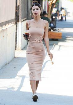 Emily Ratajkowski can make even a basic midi dress look so chic.