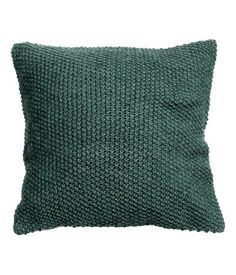 Gray blue. Moss-knit cushion cover with woven cotton fabric at back. Concealed zip. Size 20 x 20 in.