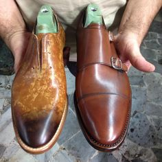 Two of the last #SS2016 collection #criscishoes: light brown adrenaline and brown pomp. #crisci #shoes #sprezzatura #footwear