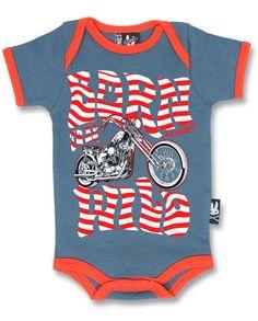 BABY ROMPER ROCKABILLY SIX BUNNIES BOYS GIRLS TATTOO BORN WILD MOTORBIKE ONESIE