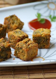 Blend with Spices: Maharashtrian Kothimbir Vadi Recipe ~ Crispy Coriander Fritters Recipe Indian Appetizers, Indian Snacks, Indian Food Recipes, Appetizer Recipes, Snack Recipes, Cooking Recipes, Breakfast Recipes, Cooking Tips, Vegan Recipes