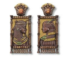 Hemmerle pharaoh earrings. Copper brown, yellow gold, white gold, diamonds in orange-brown, brown, yellow and green.
