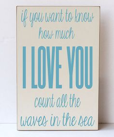 Cream & Ocean Blue 'Waves of the Sea' Wall Sign