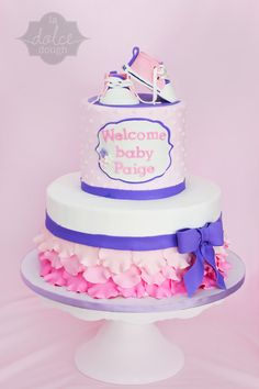 Ruffle Girl Baby Shower Cake with Converse Inspired baby Shoes - La Dolce Dough, Sylvania Ohio