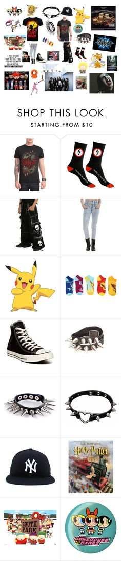 """90s be like"" by septemberfreezesblue ❤ liked on Polyvore featuring Tripp, York Wallcoverings, Converse, WithChic, KENNY, Disguise, music, rock, rocker and hottopic"