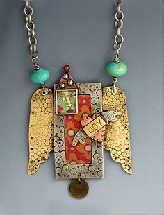 Pendant Artisan Mixed Metal Necklace Party by riverpathstudio, $115.00