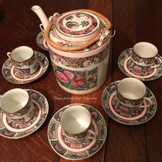 A very attractive, Chinese, canton rose medallion, coffee set.