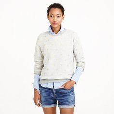 J.Crew - Gold heart sweatshirt- wear grey sweatshirt or sweater over blue pinstripe with jean shorts/skirt/ jeans