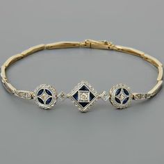 Antique Art Deco Diamond Bracelet Sapphires Yellow Gold