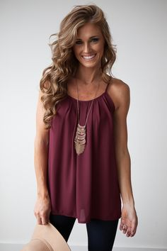 Heat Wave Pleated Cami in Wine- Magnolia Boutique