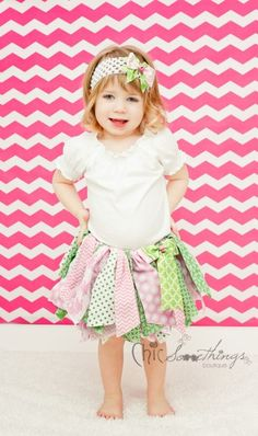 Fabric Tutu, Pink and Green Shabby Chic Tutu, Baby Tutu, Photo Prop Tutu, Childrens Toddler Infant Tutu, Birthday Tutu SUMMER WATERMELON