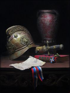 "I Am My Word by Nik Anikis Skusek has been added to the 12th International ARC Salon Exhibition. ""I Am My Word is a still life painted in honor of all brave fireman that assisted, unconditionally, hundreds of people in need of help. The Fire Museum of Sevnica, where I come from, lent me a parade helmet, sword and a badge all from 1918 for the creation of this painting..."" his work is also available for sale. For inquiries please contact kara.ross@artrenewal.org.   #12thARCSalon"