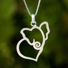 Sterling silver heart necklace, 'Elephant Heart' - Thailand Handcrafted Sterling Silver Elephant Necklace