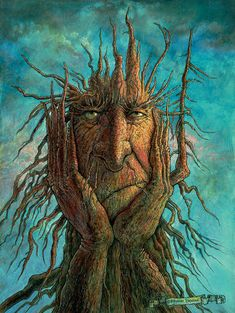 This is a fantasy painting of a treetch (tree creature) who is frustrated because he got his roots stuck in the ground, and he can't pull them out and go on an adventure! Painting by Frank Robert Dixon. Fine Art Amerika, Art Fantaisiste, Inspiration Art, Green Man, Whimsical Art, Tree Art, Oeuvre D'art, Amazing Art, Awesome