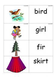 English worksheet: word /picture cards containing ´ir´ phonics