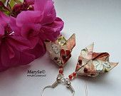 Rabbits origami earrings handmade from japanese washi paper, the rabbits are filled to hold the shape and look beautiful.