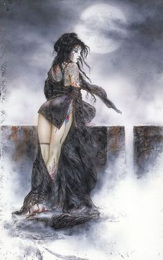 Luna y Luna (Dead Moon) in Petits Papiers's Luis Royo Comic Art Gallery Room - 1118125 Fantasy Kunst, Dark Fantasy Art, Fantasy Women, Fantasy Artwork, Dark Art, Luis Royo, Spanish Artists, Wow Art, Fantasy Illustration