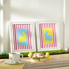 Bunny Framed Art ~ quick paper craft Easter project | instructions & free rabbit template via Michaels.com
