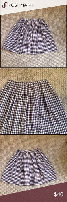 Retro Vintage Handmade High Waist Gingham Skirt Handmade retro vintage cotton skirt. No size tags or any tags whatsoever but the waist measures at about 14.5 inches and us 23.5 inches in length. I think this would be best for a small or medium. I'm 5'7 and it hit a couple inches above my knees. Purple and white, zipper and button back,from the age the white has lost its shine. Rockabilly pinup girly darted waist, one of a kind! Open to offer Vintage Skirts A-Line or Full…