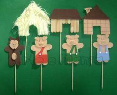 teatrinho 3 porquinhos - Atividades para Educação Infantil Pig Crafts, Preschool Activities, Diy For Kids, Crafts For Kids, Three Little Pigs, Creative Play, Infant Activities, Drawing For Kids, Nursery Rhymes