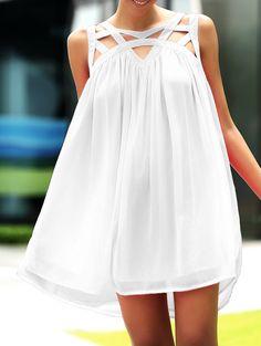 Stylish Round Neck Sleeveless Hollow Out Dress