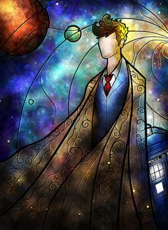 Pixalry 10th Doctor stained glass style