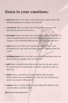 Psychological Tips For Love - The Importance of Listening To Your Emotions – Empowering Women Now - Vie Motivation, Self Care Activities, Calming Activities, Mindfulness Activities, Summer Activities, Group Therapy Activities, Self Improvement Tips, Self Care Routine, Emotional Intelligence