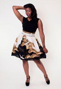 Heart Of Haute Gypsy Skirt in Scenic Crane Black Skirt Outfits, Gypsy Skirt, Pin Up Style, American Made, Crane, Skater Skirt, Vintage Inspired, Gold Skirt, Boutique