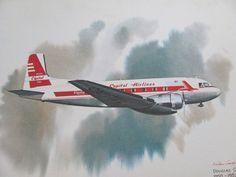 Vintage United Airlines Print Poster - Douglas Super DC -3 1950 - 1953 - Galloway