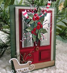 by Stamping with Bibiana: Merry Christmas! door card using Memory Box and poppystamps dies details at my blog