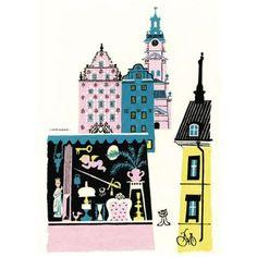 Der schwedische Künstler Olle Eksell kombiniert auf diesem Poster Motive der Stockholmer Gamla Stan auf eine kreative, besonders gelungene Weise.