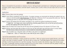 Oleeva Instructions for Proper Use