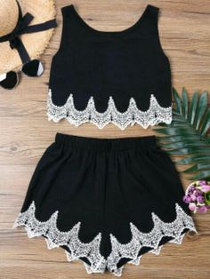 outfits with shorts Others Flat Elastic High Round Regular Casual and Going Crochet Panel Shorts Two Piece Set Crop Top Outfits, Mode Outfits, Short Outfits, Two Piece Outfits Shorts, Cute Summer Outfits, Classy Outfits, Mode Rockabilly, Teen Fashion, Fashion Outfits