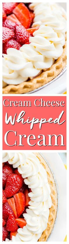This Cream Cheese Whipped Cream is deliciously creamy and tangy topping for desserts, milkshakes, hot chocolate, and more! Made with just 4 ingredients and ready in 5 minutes! via @sugarandsoulco