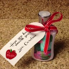 """Back to School teacher gift for first day of school Tag reads, """"Hope you have a smooth year!"""""""