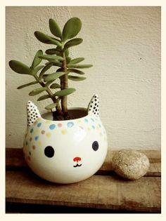 Cat planter with Jade plant