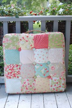 Cute seat cushions to make for some benches for porch or by the firepit