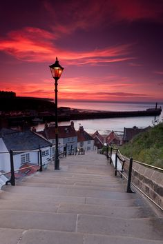 coffee-tea-and-sympathy: Whitby, North Yorkshire, England? Stairway to heaven by Menno Dekker The Places Youll Go, Places To See, Beautiful World, Beautiful Places, Beautiful Scenery, Beautiful Sunset, North Yorkshire, Yorkshire England, Whitby England