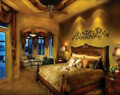 Home Plans - Square Feet, 5 Bedroom 6 Bathroom Mediterranean Home with 3 Garage Bays home decor tuscan style wall colors Mediterranean Style House Plan - 5 Beds 6 Baths 5564 Sq/Ft Plan Mediterranean Bedroom, Mediterranean Homes, Mediterranean Architecture, Style Toscan, Style Cottage, Merian, Tuscan House, Tuscan Decorating, Interior Decorating