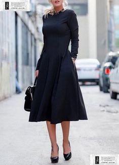2855-Μαύρο κλος φόρεμα μακρυμάνικο με τσέπες