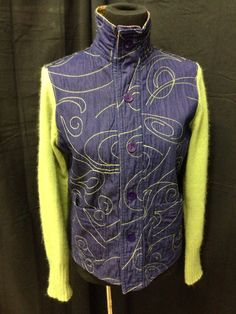 Denim and wool upcycled sweater jacket by 47Sweaters on Etsy